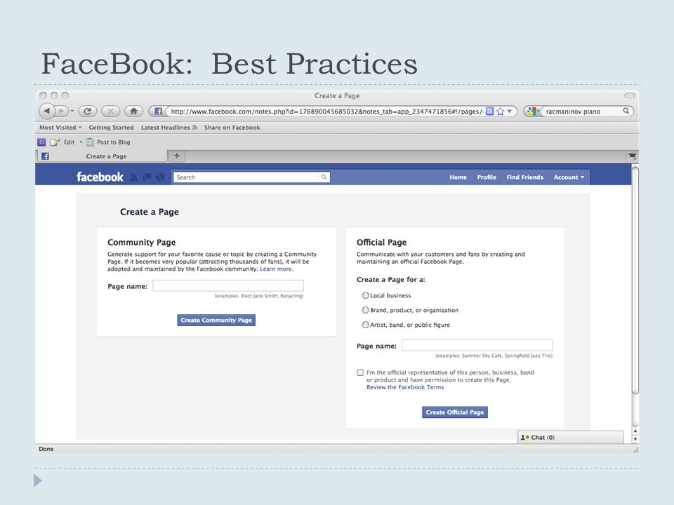 FaceBook: Best Practices