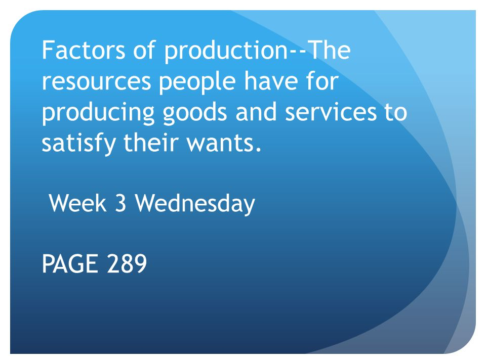 Factors of production--The resources people have for producing goods and services to satisfy their wants.