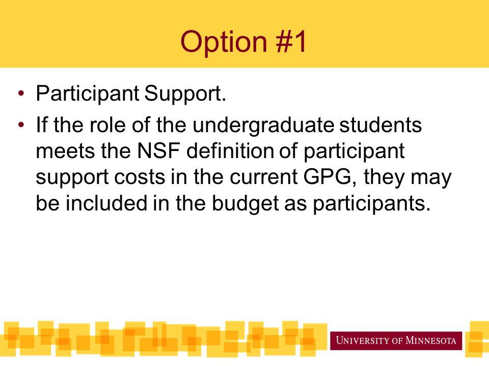 Option #1 Participant Support.