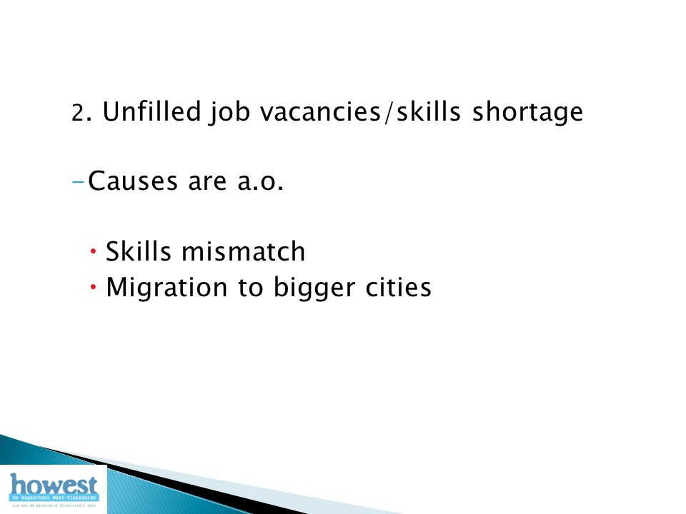 2.Unfilled job vacancies/skills shortage -Causes are a.o.