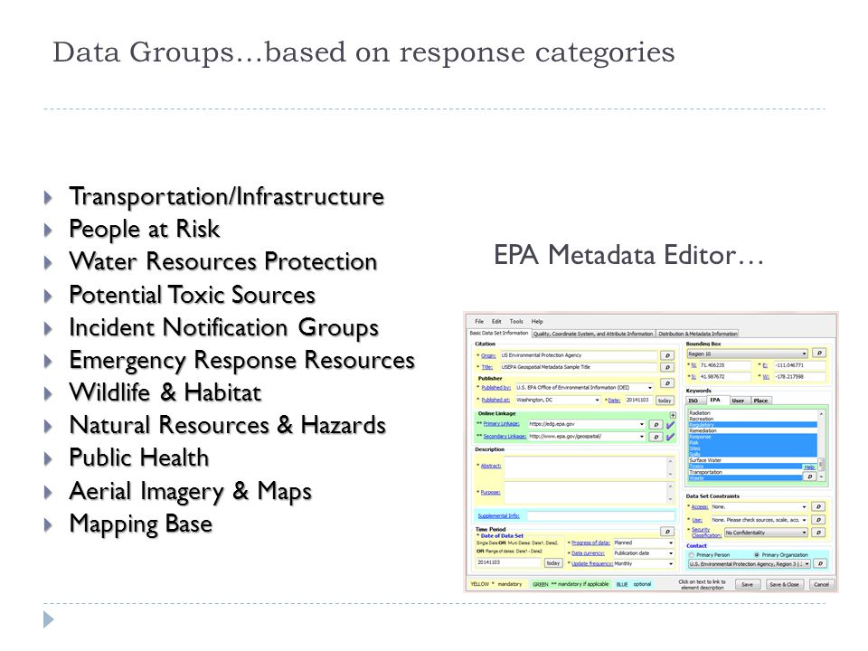 Data Groups…based on response categories  Transportation/Infrastructure  People at Risk  Water Resources Protection  Potential Toxic Sources  Inc