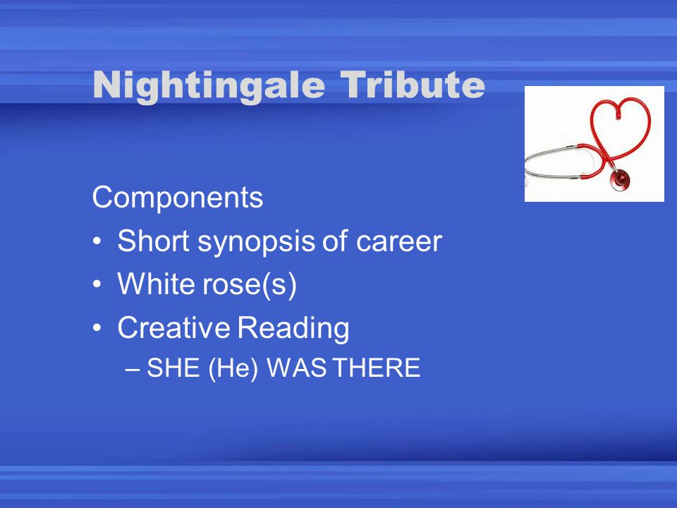 Components Short synopsis of career White rose(s) Creative Reading –SHE (He) WAS THERE