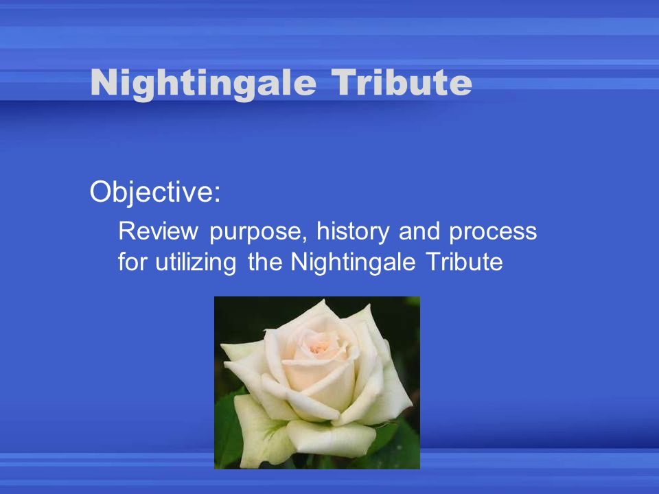 Nightingale Tribute Objective: Review purpose, history and process for utilizing the Nightingale Tribute