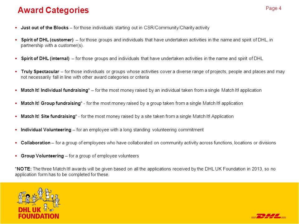 Page 5 Ideas Across DHL there are countless CSR activities taking place throughout the year – some carried out in partnership with the DHL UK Foundation, others at a local, more divisional level.
