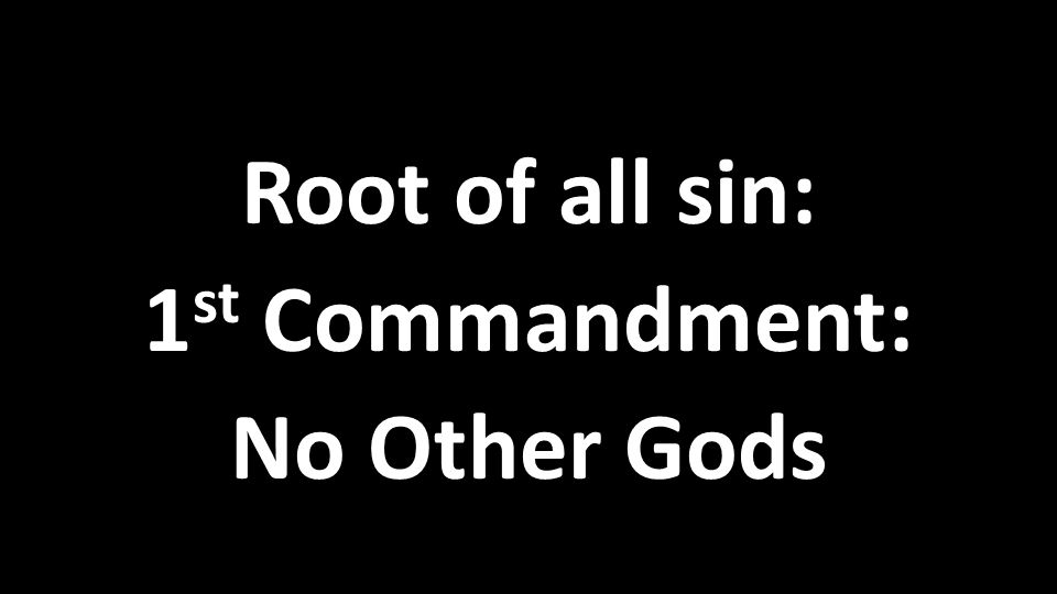 Root of all sin: 1 st Commandment: No Other Gods