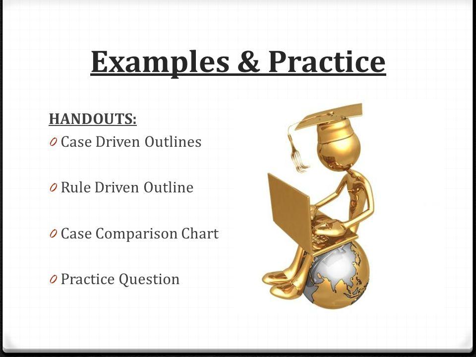 Examples & Practice HANDOUTS: 0 Case Driven Outlines 0 Rule Driven Outline 0 Case Comparison Chart 0 Practice Question