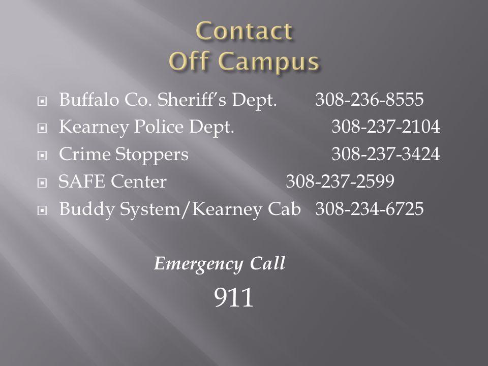  Buffalo Co. Sheriff's Dept. 308-236-8555  Kearney Police Dept.