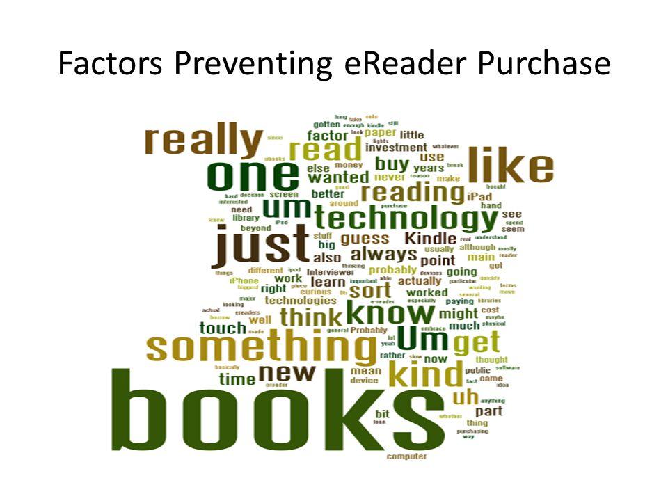 Factors Preventing eReader Purchase