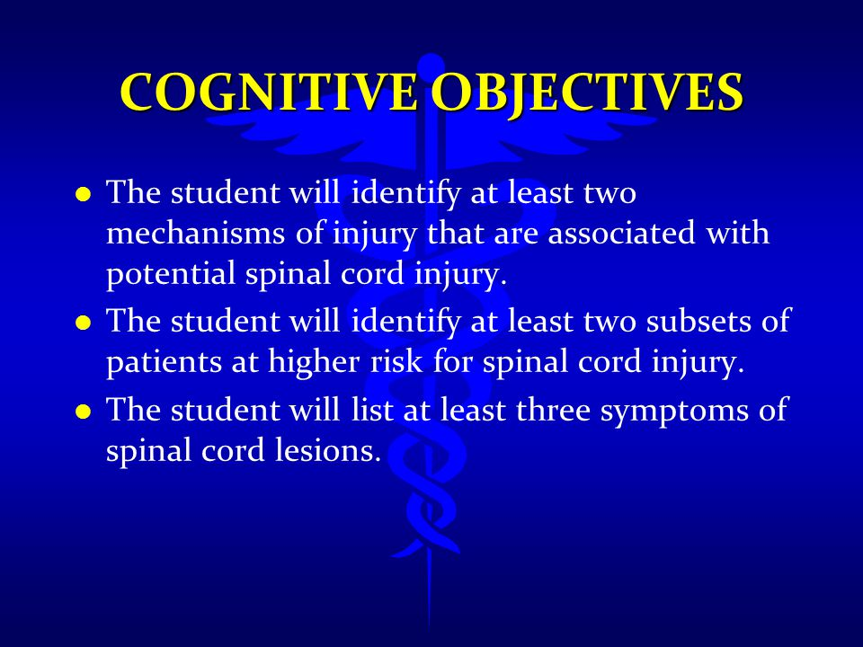 l l As with traumatic brain injury, secondary injury to the spine often arises from increased pressure (e.g.