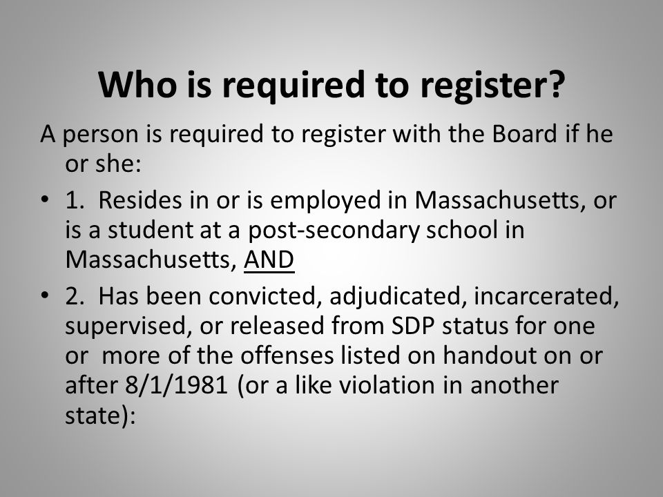 Who is required to register. A person is required to register with the Board if he or she: 1.