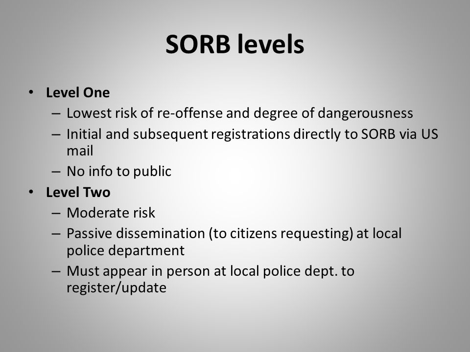 SORB levels Level One – Lowest risk of re-offense and degree of dangerousness – Initial and subsequent registrations directly to SORB via US mail – No info to public Level Two – Moderate risk – Passive dissemination (to citizens requesting) at local police department – Must appear in person at local police dept.