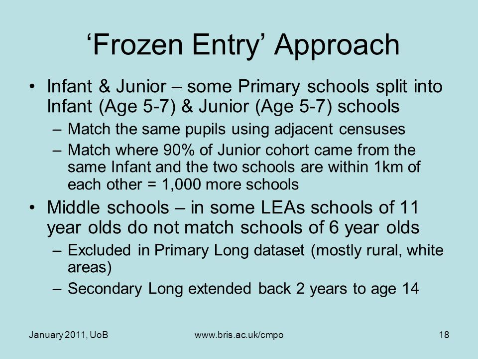 January 2011, UoBwww.bris.ac.uk/cmpo18 'Frozen Entry' Approach Infant & Junior – some Primary schools split into Infant (Age 5-7) & Junior (Age 5-7) s