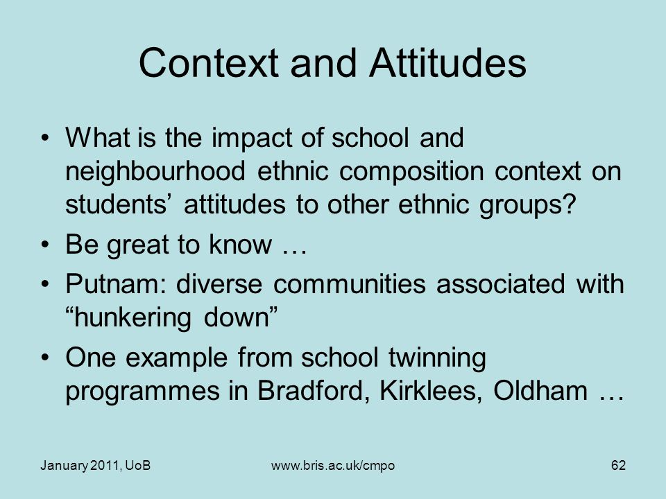 Context and Attitudes What is the impact of school and neighbourhood ethnic composition context on students' attitudes to other ethnic groups? Be grea