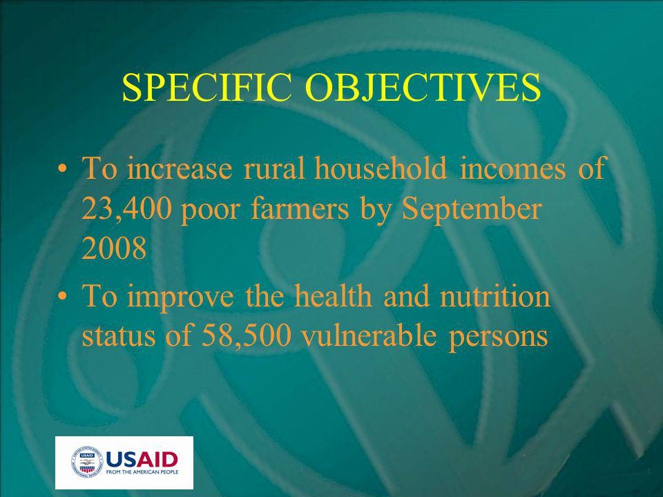 SPECIFIC OBJECTIVES To increase rural household incomes of 23,400 poor farmers by September 2008 To improve the health and nutrition status of 58,500 vulnerable persons