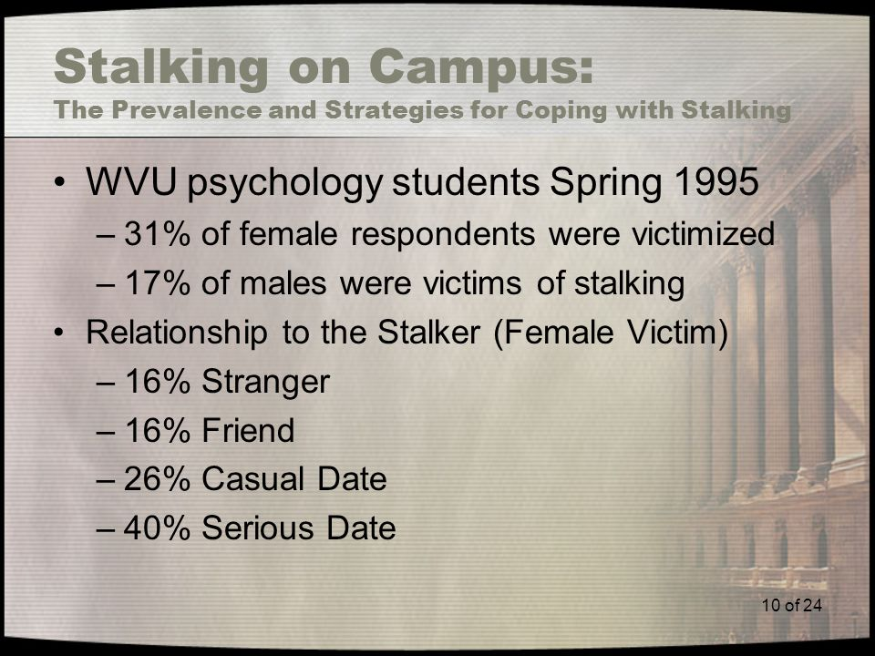 10 of 24 Stalking on Campus: The Prevalence and Strategies for Coping with Stalking WVU psychology students Spring 1995 –31% of female respondents were victimized –17% of males were victims of stalking Relationship to the Stalker (Female Victim) –16% Stranger –16% Friend –26% Casual Date –40% Serious Date