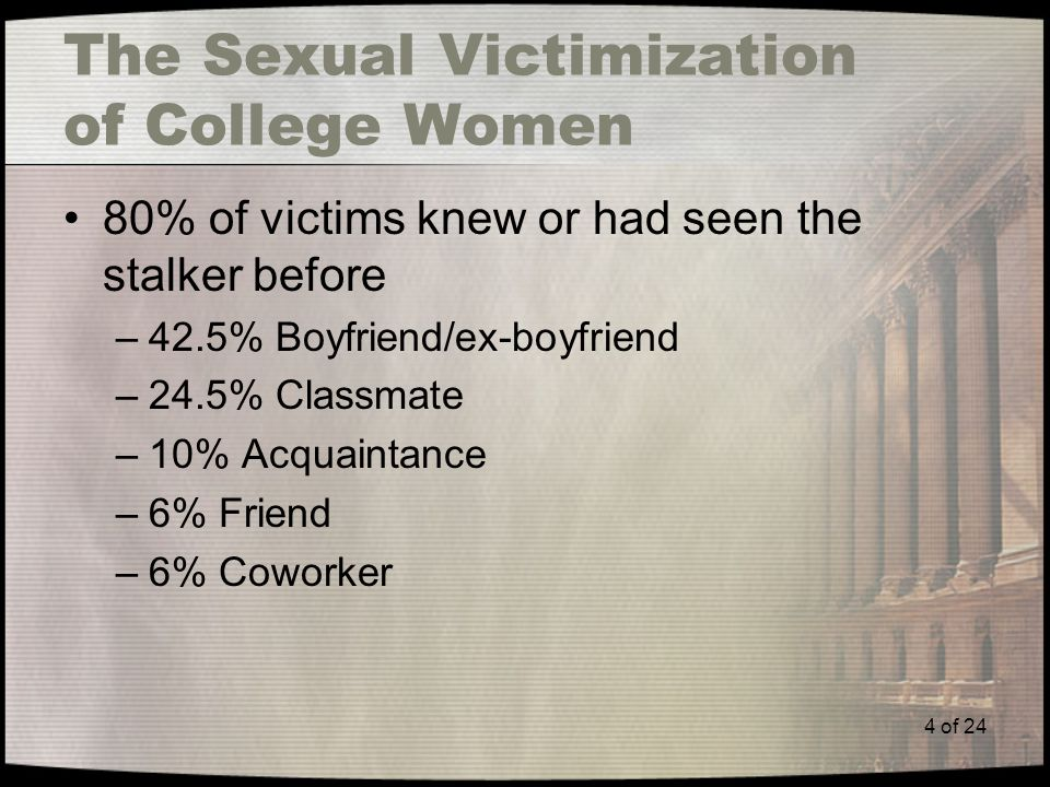 4 of 24 The Sexual Victimization of College Women 80% of victims knew or had seen the stalker before –42.5% Boyfriend/ex-boyfriend –24.5% Classmate –10% Acquaintance –6% Friend –6% Coworker