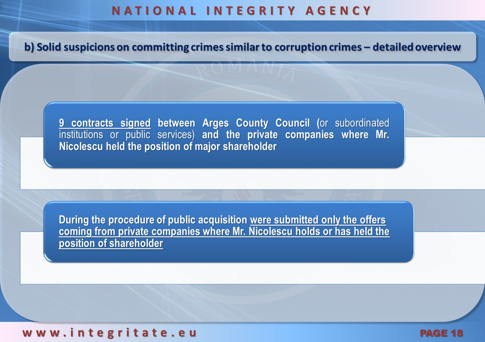 a) Conflict of interests – detailed overview www.integritate.eu PAGE 17 NATIONAL INTEGRITY AGENCY Public services Institutions AUTOPROMOND S.A.