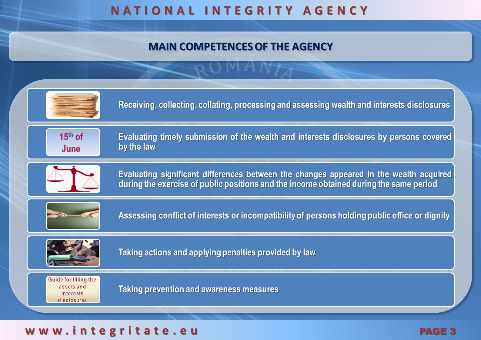 MAIN COMPETENCES OF THE AGENCY www.integritate.eu PAGE 3 NATIONAL INTEGRITY AGENCY Receiving, collecting, collating, processing and assessing wealth and interests disclosures Evaluating timely submission of the wealth and interests disclosures by persons covered by the law Evaluating significant differences between the changes appeared in the wealth acquired during the exercise of public positions and the income obtained during the same period Assessing conflict of interests or incompatibility of persons holding public office or dignity Taking actions and applying penalties provided by law Taking prevention and awareness measures