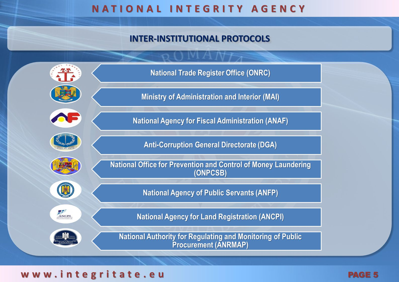 ACCESING RELEVANT DOCUMENTS AND DATA FROM OTHER INSTITUTION / AUTHORITIES: www.integritate.eu PAGE 15 NATIONAL INTEGRITY AGENCY Integrity inspector requested various documents and data from other public or private institutions / authorities: Arges County Council Personal ID Databases within the Ministry of Interior National Office of Trade Registrar National Management Center for Information Society Land Registrar Tax Registrar Other institution After receiving all the relevant documents, integrity inspector started the assessment of the information gathered from the institutions mentioned above