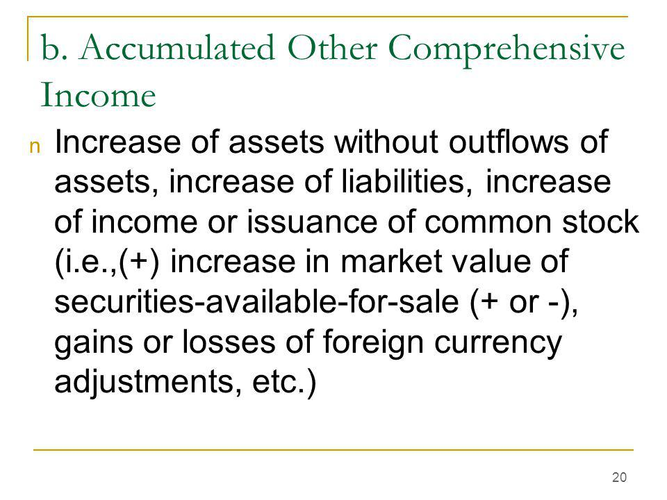 20 b. Accumulated Other Comprehensive Income n Increase of assets without outflows of assets, increase of liabilities, increase of income or issuance