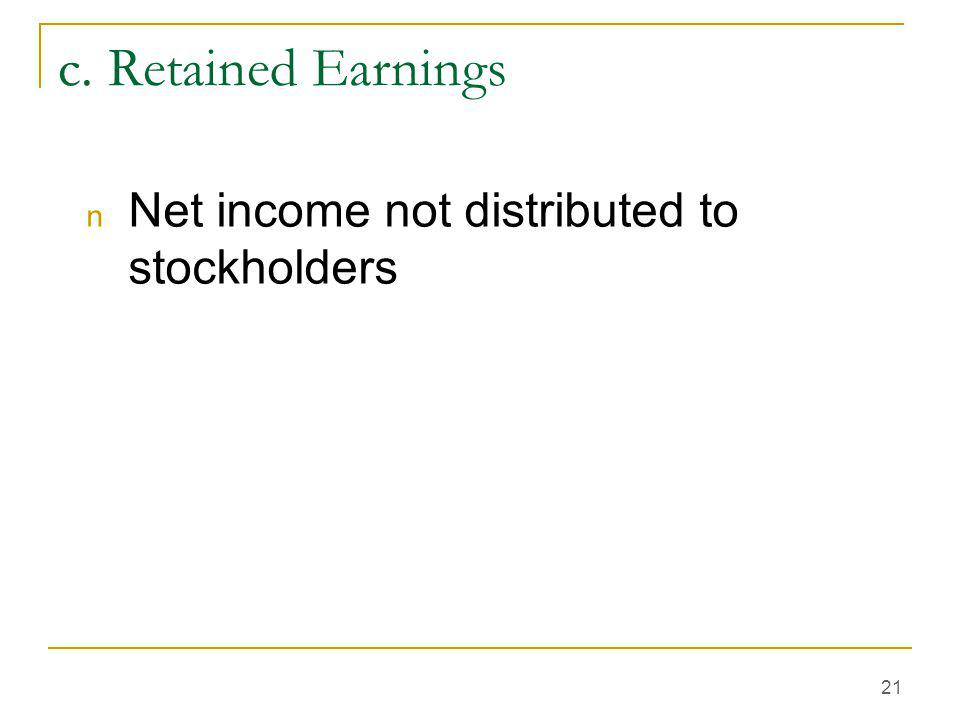 21 c. Retained Earnings n Net income not distributed to stockholders