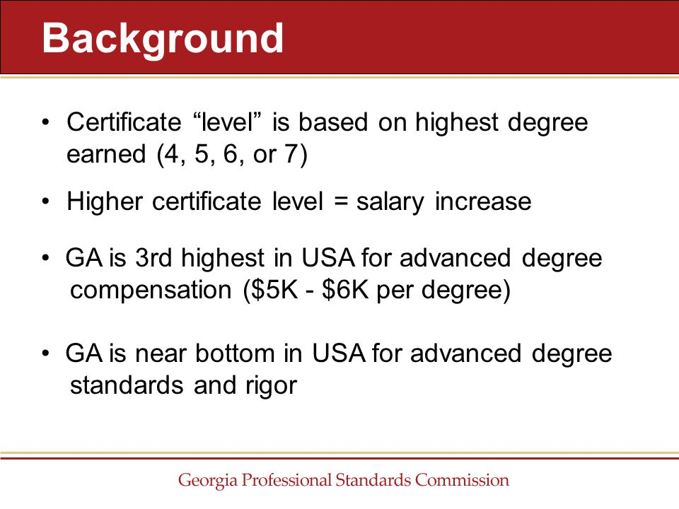 """Certificate """"level"""" is based on highest degree earned (4, 5, 6, or 7) Higher certificate level = salary increase Background GA is 3rd highest in USA f"""