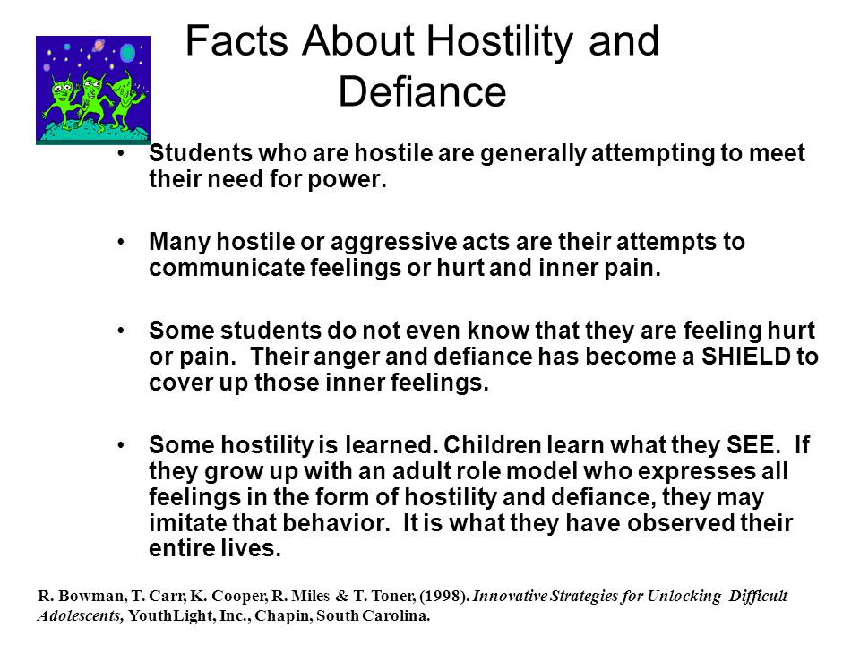 Facts About Hostility and Defiance Students who are hostile are generally attempting to meet their need for power.
