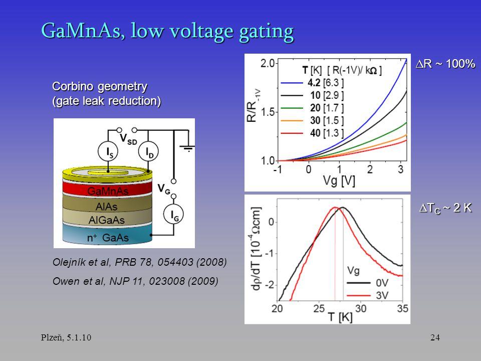 Plzeň, 5.1.1024 GaMnAs, low voltage gating  R ~ 100%  T C ~ 2 K Olejník et al, PRB 78, 054403 (2008) Owen et al, NJP 11, 023008 (2009) Corbino geometry (gate leak reduction)