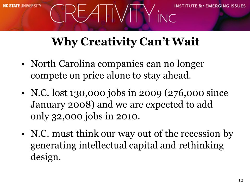 12 Why Creativity Can't Wait North Carolina companies can no longer compete on price alone to stay ahead.