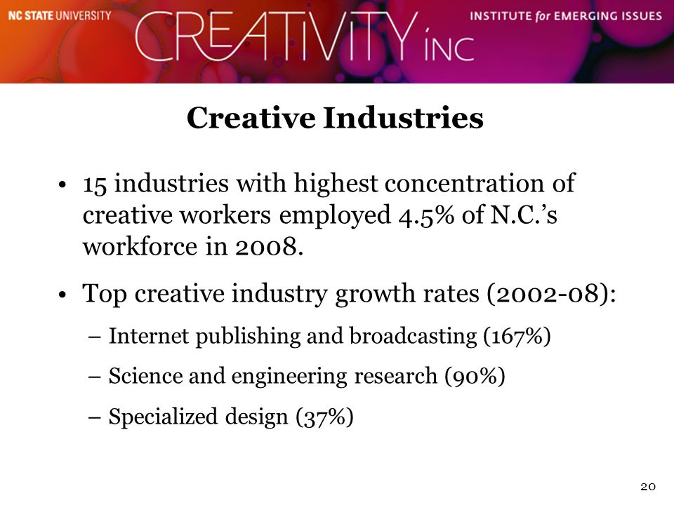 20 Creative Industries 15 industries with highest concentration of creative workers employed 4.5% of N.C.'s workforce in 2008.