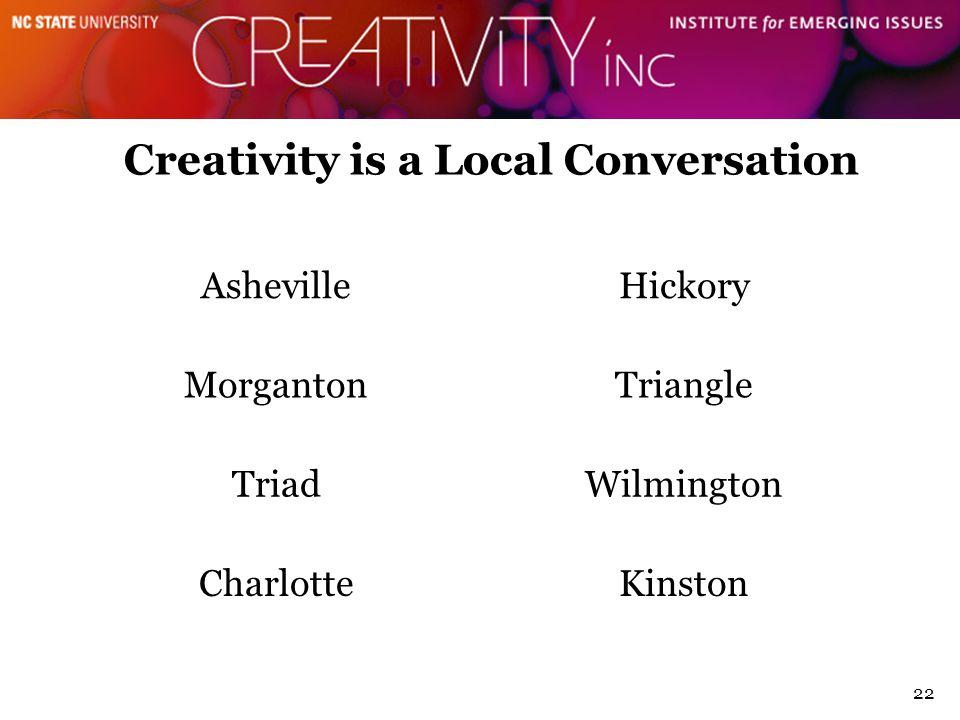 Creativity is a Local Conversation AshevilleHickory MorgantonTriangle TriadWilmington CharlotteKinston 22