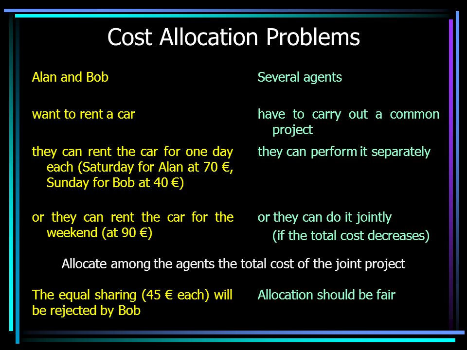 Cost Allocation Problems Alan and Bob want to rent a car they can rent the car for one day each (Saturday for Alan at 70 €, Sunday for Bob at 40 €) or they can rent the car for the weekend (at 90 €) Allocate among the agents the total cost of the joint project The equal sharing (45 € each) will be rejected by Bob Allocation should be fair Several agents have to carry out a common project they can perform it separately or they can do it jointly (if the total cost decreases)