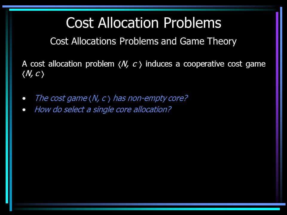 Infrastructure Cost Games Some users need an infrastructure They are grouped according to different requests, corresponding to increasing levels of the infrastructure or of the facilities that build up the infrastructure, as g 1,..., g k An infrastructure has costs independent from the number of users (Building costs) and costs depending on the number of users (Maintenance costs) Infrastructure cost game = Building cost game + Maintenance cost game The Shapley Value is additive
