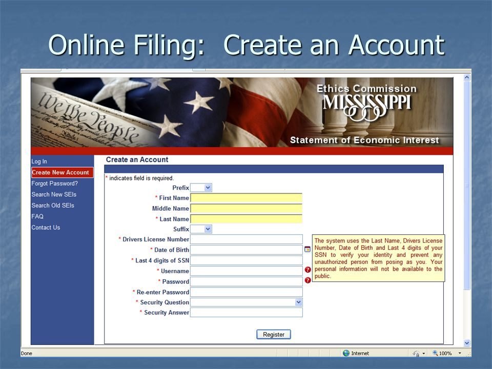 Online Filing: Create an Account