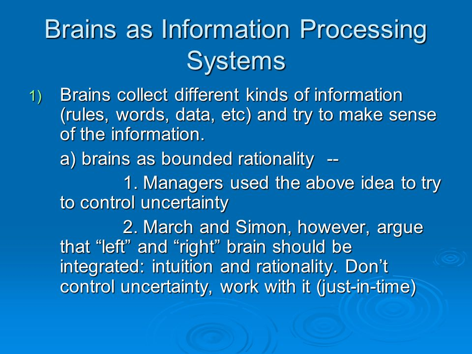 Brains as Information Processing Systems 1) Brains collect different kinds of information (rules, words, data, etc) and try to make sense of the information.
