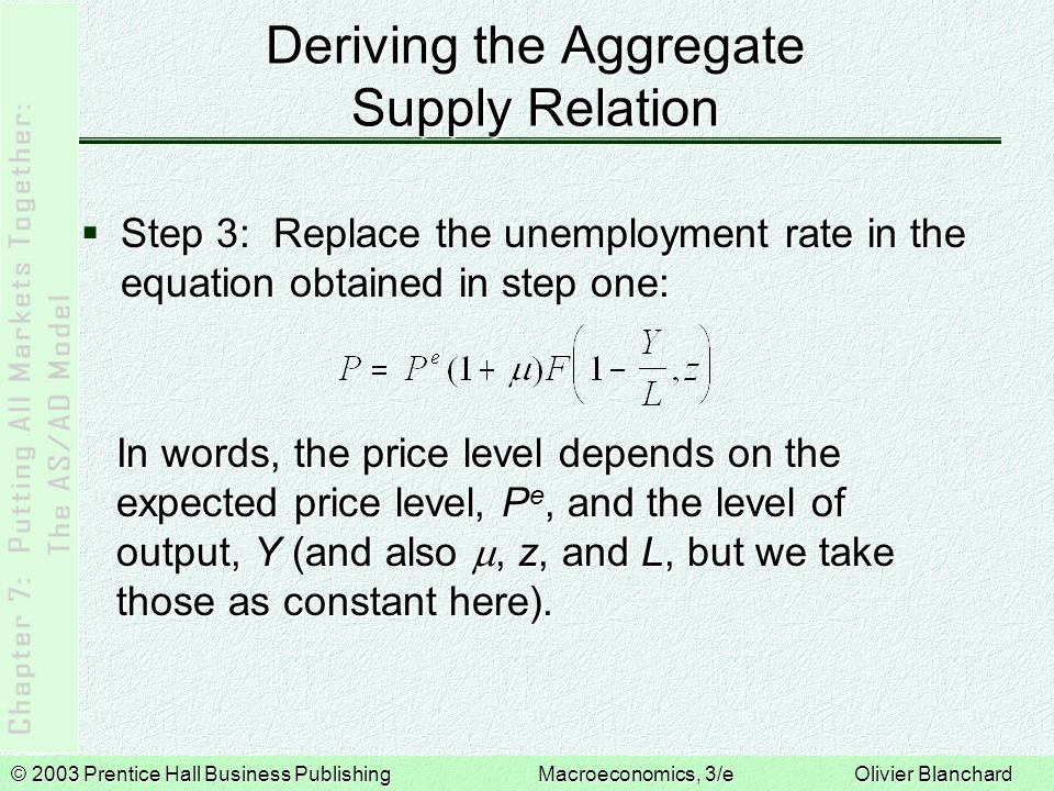 © 2003 Prentice Hall Business PublishingMacroeconomics, 3/e Olivier Blanchard Equilibrium in the Short Run The equilibrium is given by the intersection of the aggregate supply curve and the aggregate demand curve.