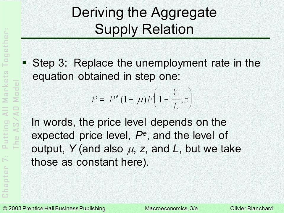 © 2003 Prentice Hall Business PublishingMacroeconomics, 3/e Olivier Blanchard Properties of the AS Relation  The AS relation has two important properties: 1.