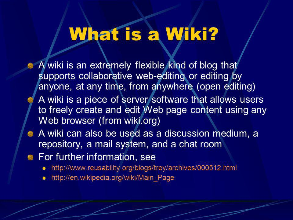 What is a Wiki.