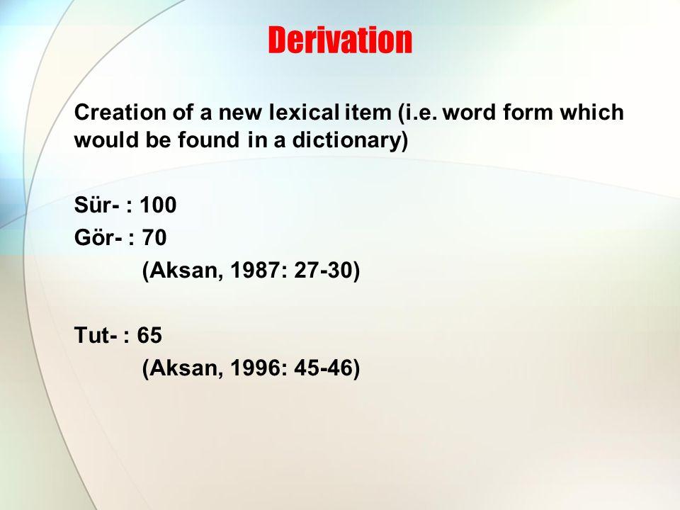 Derivation 4 Possibilities of derivation (Table 6.1) ● denominal nominal (noun from noun) ● deverbal nominal (noun from verb) ● denominal verbal (verb from noun) ● deverbal verbal (verb from verb)