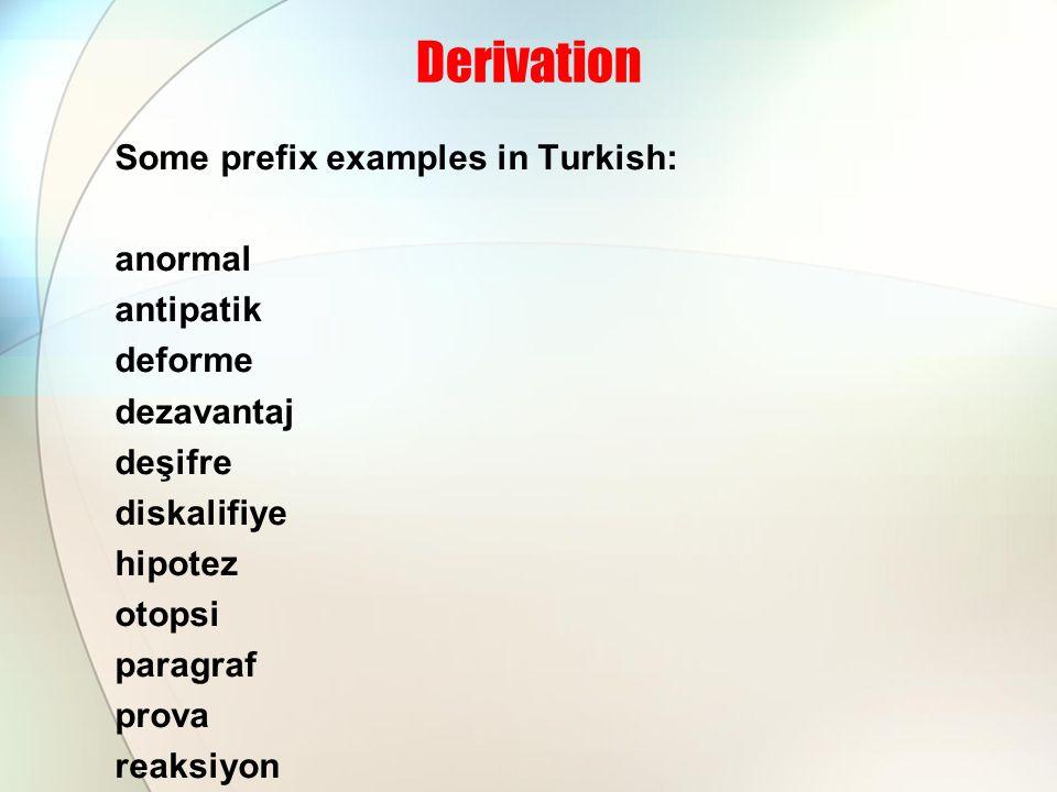 Derivation Some prefix examples in Turkish: anormal antipatik deforme dezavantaj deşifre diskalifiye hipotez otopsi paragraf prova reaksiyon