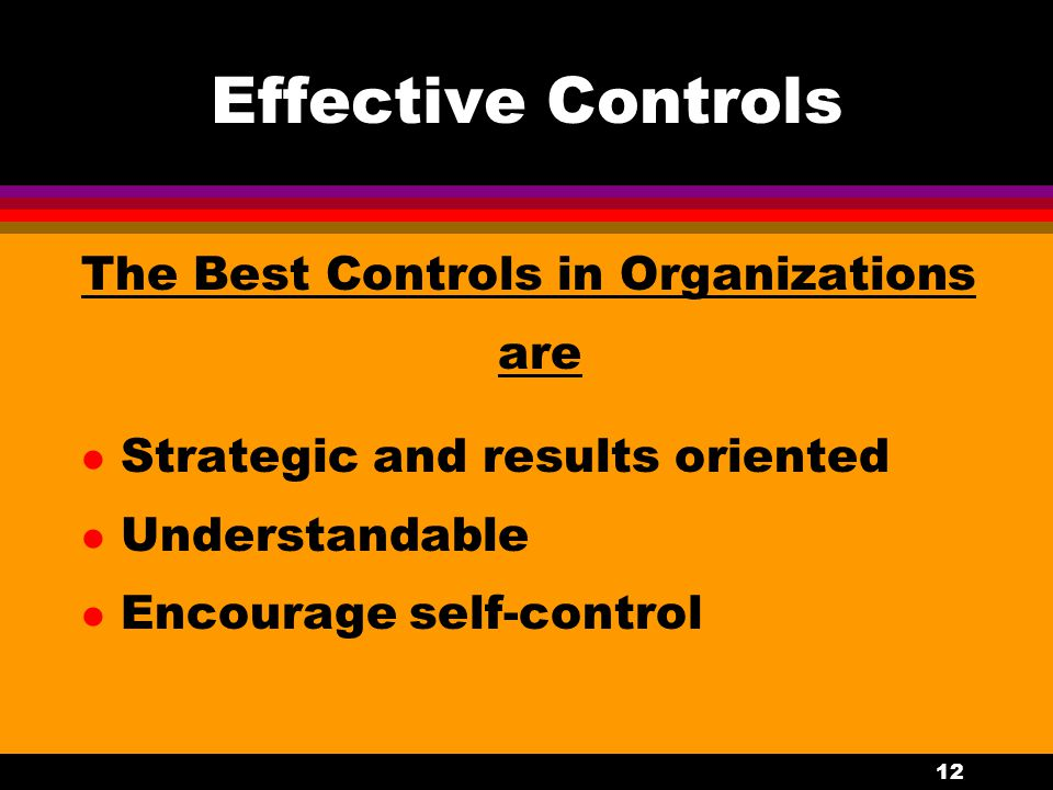 12 Effective Controls The Best Controls in Organizations are l Strategic and results oriented l Understandable l Encourage self-control