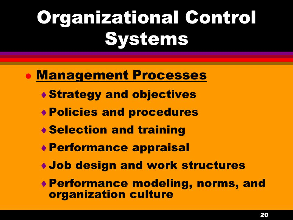 20 Organizational Control Systems l Management Processes  Strategy and objectives  Policies and procedures  Selection and training  Performance ap