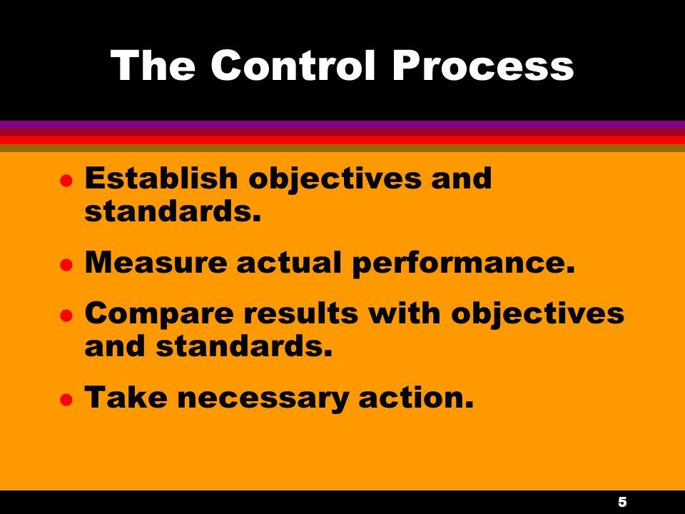 5 The Control Process l Establish objectives and standards. l Measure actual performance. l Compare results with objectives and standards. l Take nece
