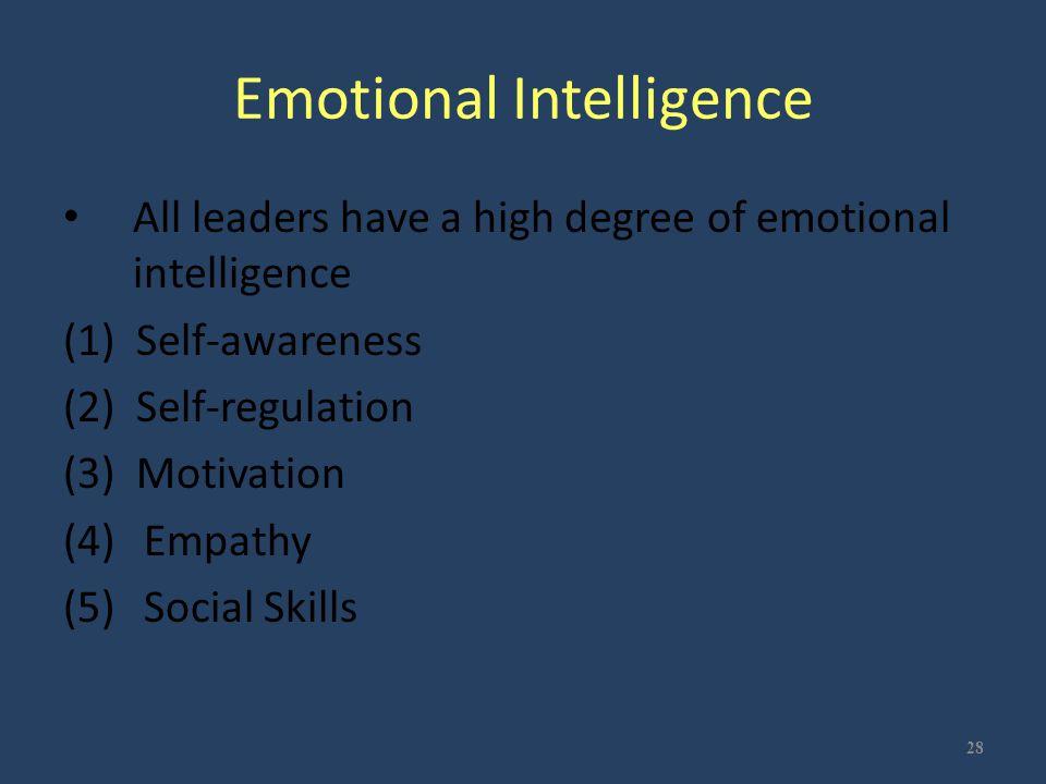 Emotional Intelligence All leaders have a high degree of emotional intelligence (1) Self-awareness (2) Self-regulation (3) Motivation (4) Empathy (5)