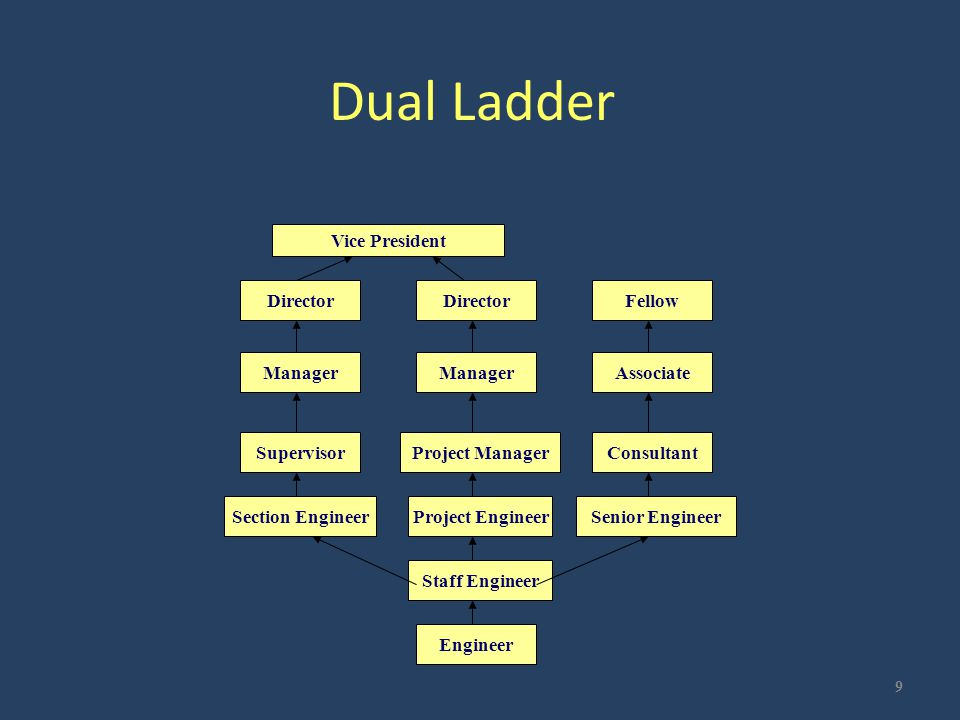 Dual Ladder 9 DirectorFellow Manager Associate SupervisorProject ManagerConsultant Section EngineerProject EngineerSenior Engineer Staff Engineer Engi