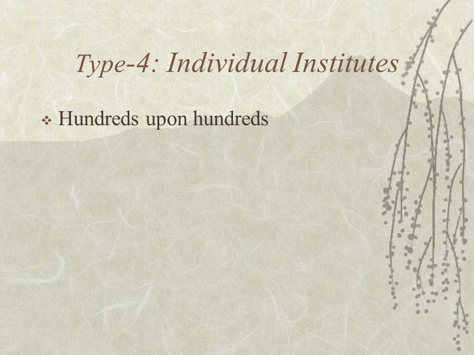 Type -4: Individual Institutes  Hundreds upon hundreds
