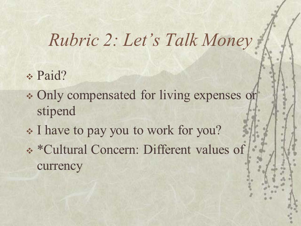 Rubric 2: Let's Talk Money  Paid.