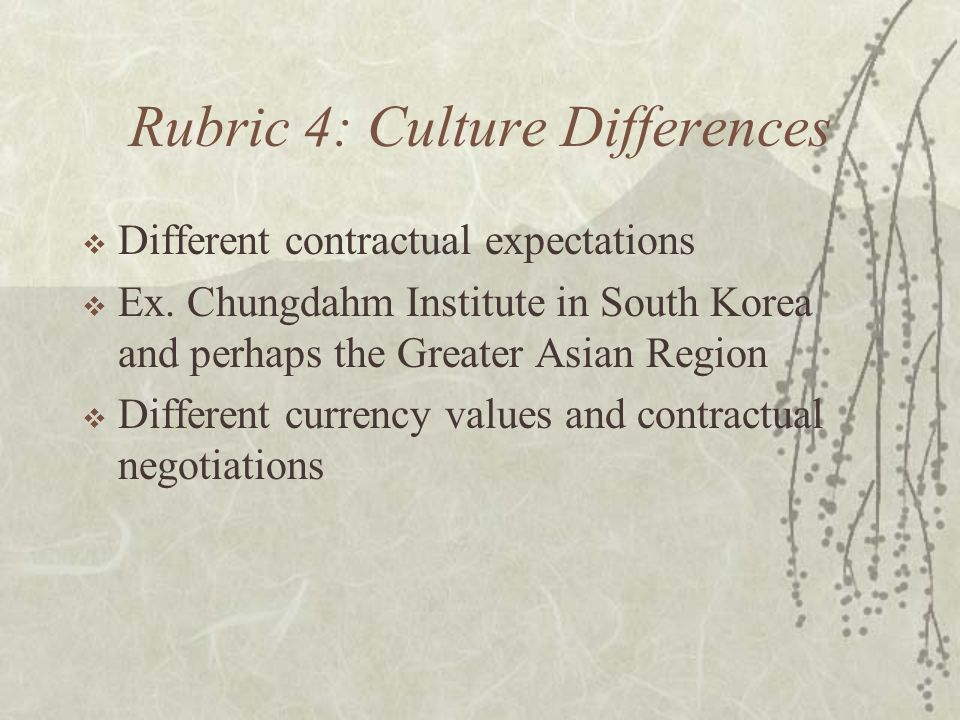 Rubric 4: Culture Differences  Different contractual expectations  Ex. Chungdahm Institute in South Korea and perhaps the Greater Asian Region  Dif