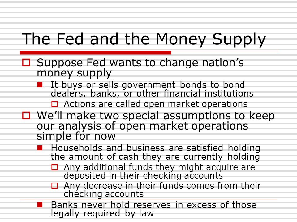 The Fed and the Money Supply  Suppose Fed wants to change nation's money supply It buys or sells government bonds to bond dealers, banks, or other fi