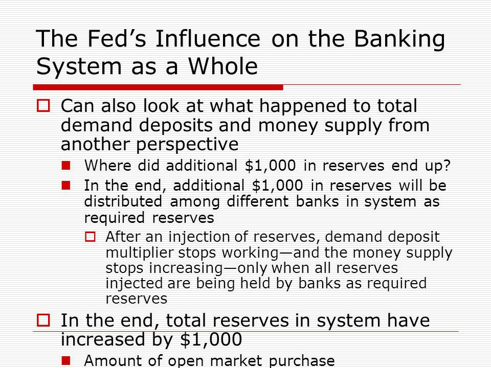 The Fed's Influence on the Banking System as a Whole  Can also look at what happened to total demand deposits and money supply from another perspecti